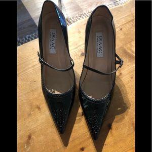 Isaac black patent heels